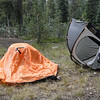 Drying out the tent from Crater Lake before putting it up at Lassen's North Summit Campground.