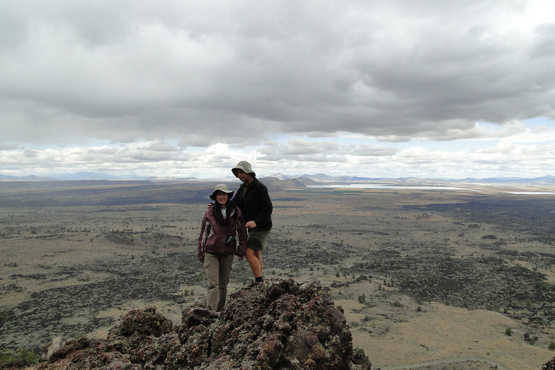 Schonchin Butte Summit. <I>10 second timer - only just made it!</I>