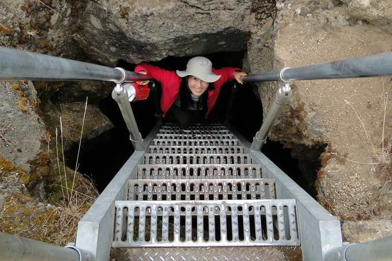 Descending the Golden Dome Lava Tube.