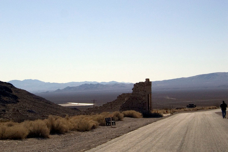 Rhyolite ghost town looking back toward Death Valley