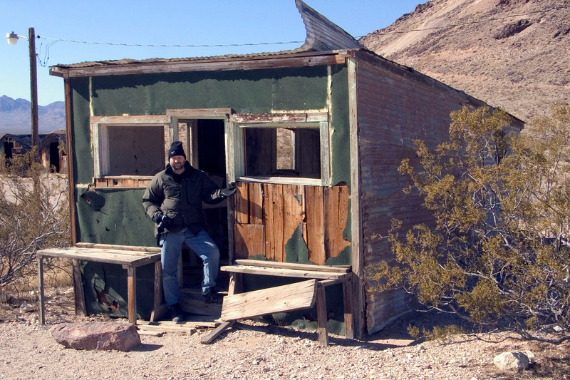 Eric at a building in Rhyolite