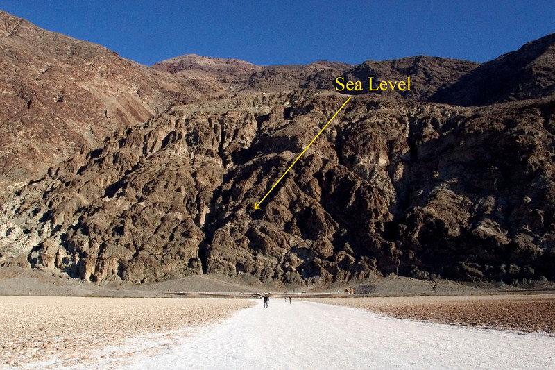 Salt flats at Badwater, annotated