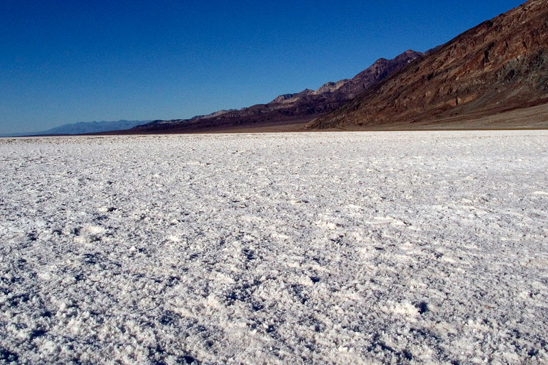 Salt flats at Badwater.  That's all sharp salt crystals.  You do not want to trip and fall here.