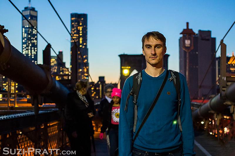 Brooklyn Bridge Portrait in New York City in Fall 2014