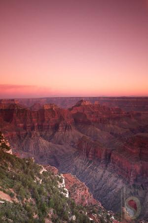 Sun set at Grand Canyon North Rim.
