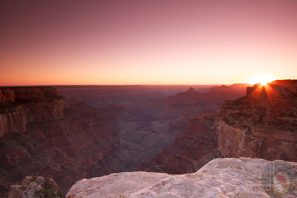 Sun set at Grand Canyon North Rim. Crazy Jug view point