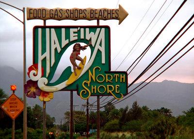 Hale'iwa town, North Shore sign  Oahu HI