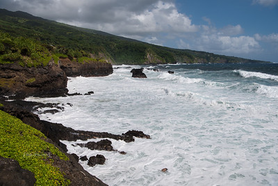 Wild and rocky beach at Oheo Gulch