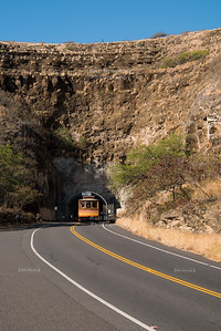 A trolley enters Diamond Head's Kahala Tunnel