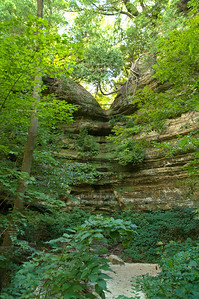 Canyon and part-time waterfall in Starved Rock State Park, Utica, Illinois