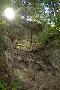 Powerful sunlight over a canyon in Starved Rock State Park, Utica, Illinois