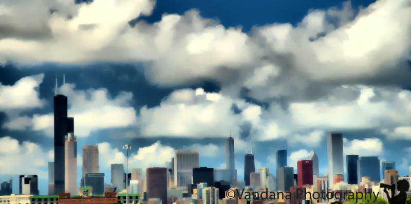June 29, 2010 - Chicago skyline at noon today  - traffic was a mess with plenty of photo-op moments