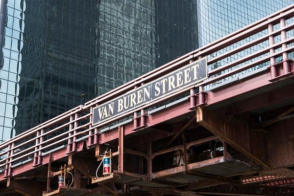 Van Buren Street Bridge in Downtown Chicago