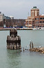 Remnants of a crumbling pier in Chicago harbor