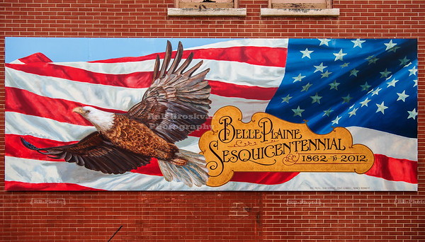Mural celebrating the 150th anniversary of Belle Plaine, Iowa