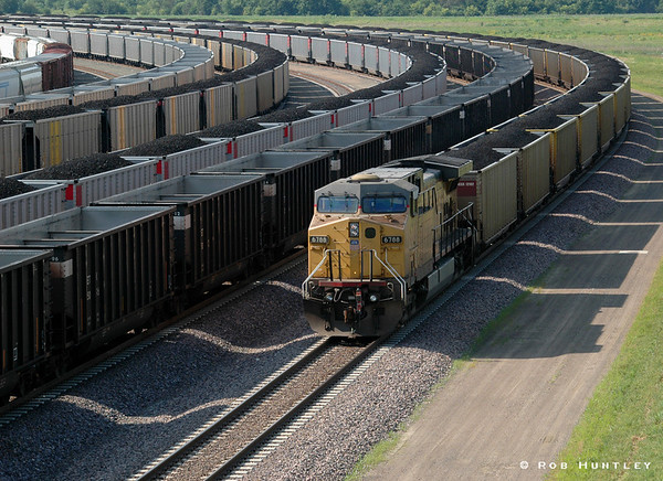 Freight yard in Marysville, Kansas. Shot taken from a bridge. © Rob Huntley