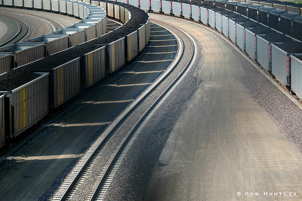 Freight yard in Marysville, Kansas. Shot taken from a bridge. License this photo on Getty Images © Rob Huntley