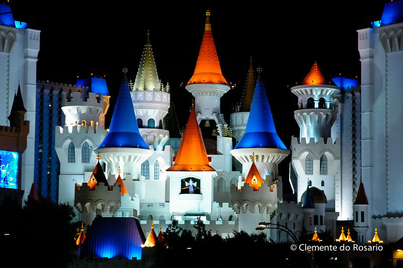 Excalibur Casino and Hotel at night, Las Vegas, USA