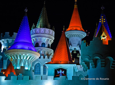 Excalibur Casino & Hotel at night, Las Vegas, USA