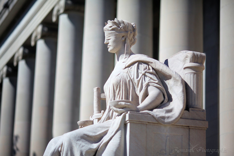A statue of justice outside the magnificent Memphis courthouse.