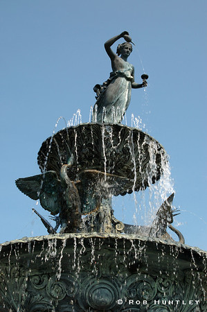 The Renaissance Fountain with Cranes at Clemens Gardens in St. Cloud Minnesota. © Rob Huntley