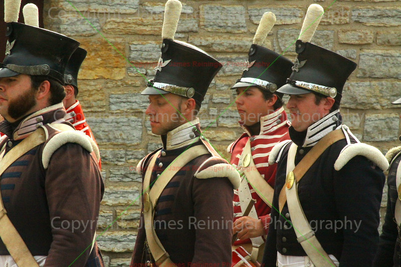 Reenactors of soldiers from the 1820s