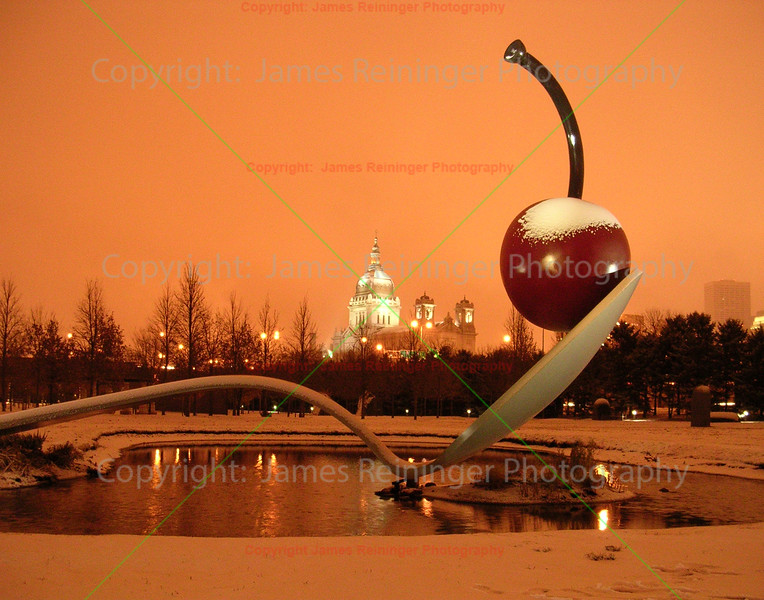 Cherry and Spoon Sculpture in Snowstorm