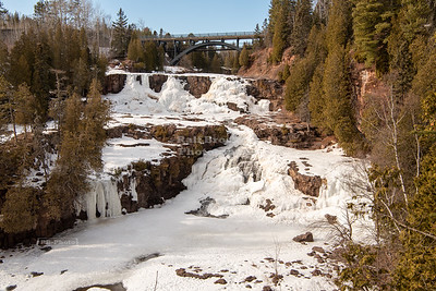Frozen Middle and Lower Gooseberry Falls