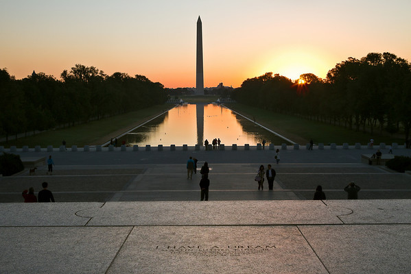 Sunrise on the steps of the Lincoln Memorial