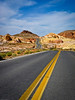The curvy road leading through Valley of Fire