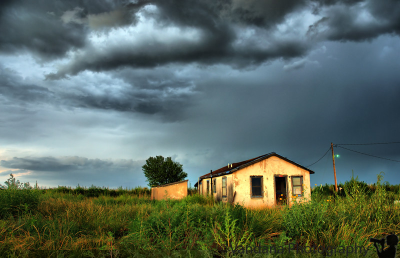 Abandoned shack in the storm, Portales, NM