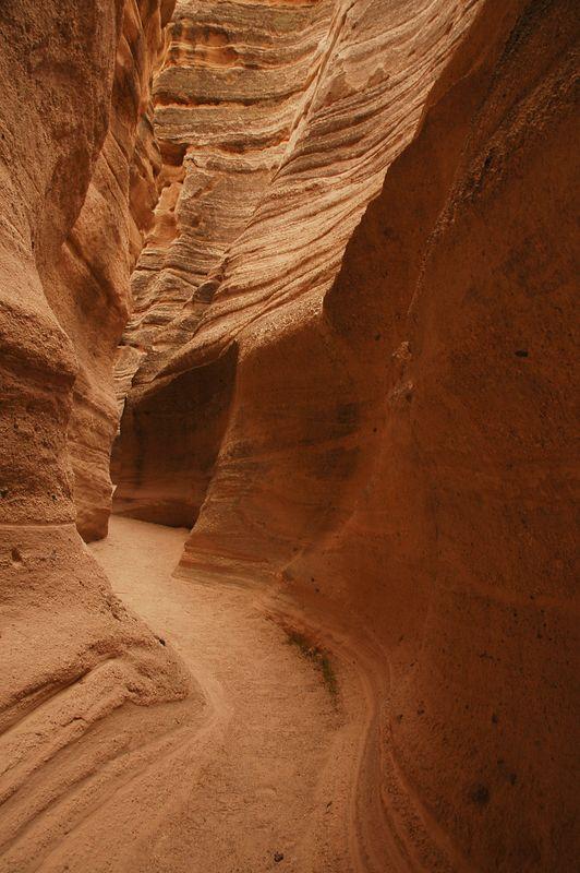 narrow Slot canyon at tent rocks