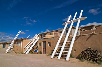 Kivas and white ladders in Sky City, the Acoma Pueblo, New Mexico