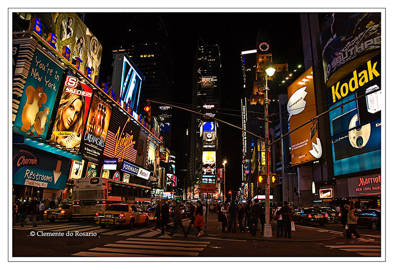 Bright Lights of Times Square in Mahanttan,  New York City, New York, USA