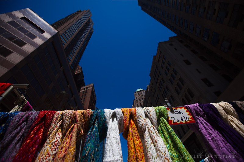 Colorful scarves on a Manhattan street.