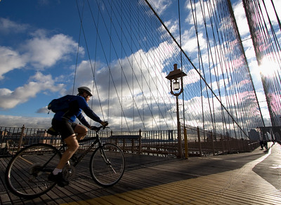 biking on brooklyn bridge