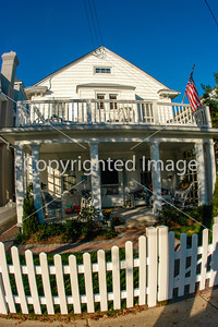 Ocean City, N.J. U.S.A.- Front of Wooden Guest House near Beach, Atlantic Ocean.