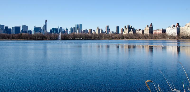 Blick über das grosse Reservoir im Central Park, New York