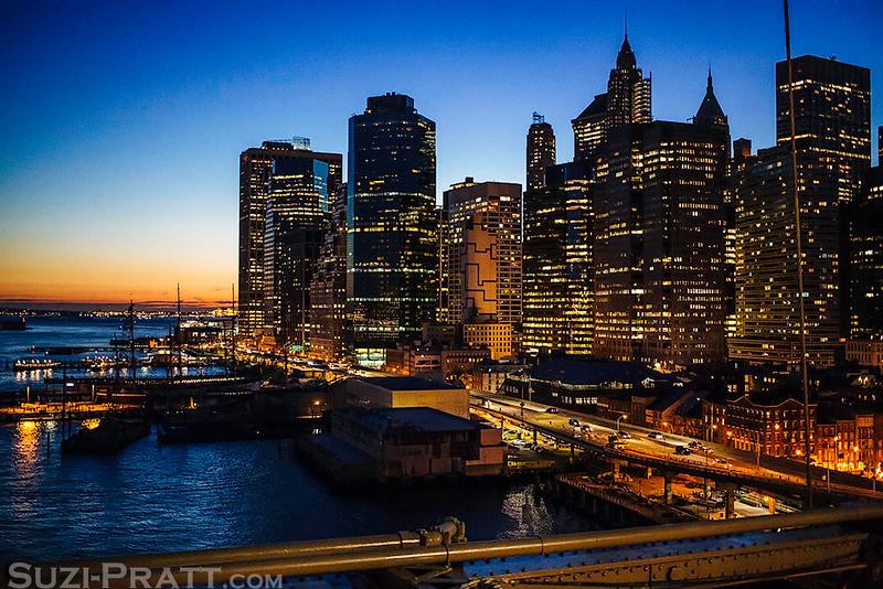 Brooklyn Bridge Sunset in New York City in Fall 2014