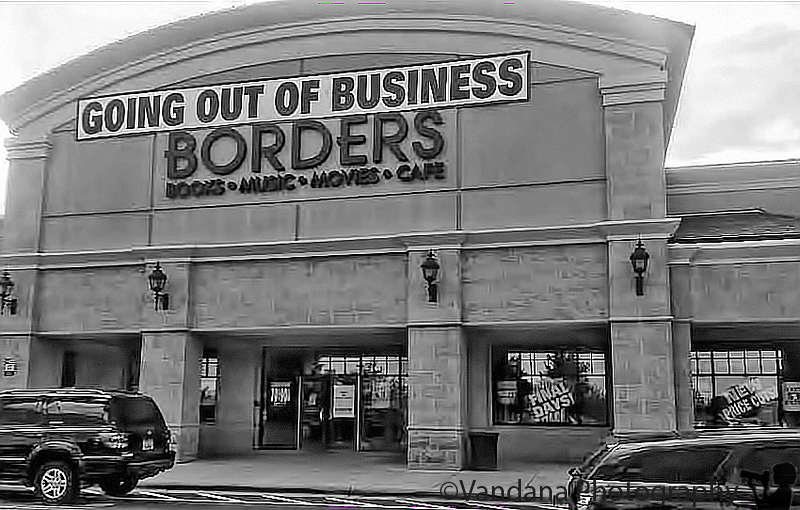 September 15, 2011 - Once upon a time, people went to bookstores to browse and buy books to read. then people like me started reading on their kindles and bookstores became extinct :( ..so sorry to see borders go... go buy a book today ! ( an android photo)