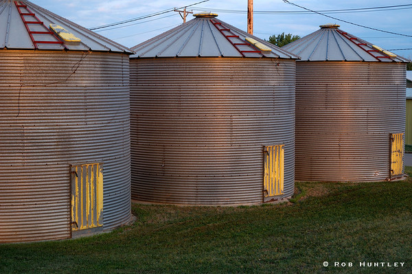 Grain storage bins in Watford City, North Dakota.