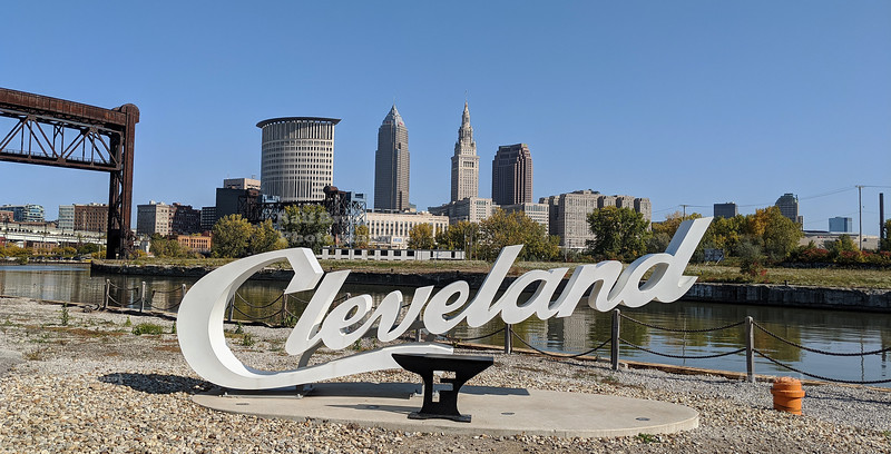 Cleveland script sign on the Cuyahoga River