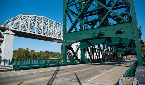 Cuyahoga Viaduct and Columbus Road Lift Bridge in Cleveland, Ohio
