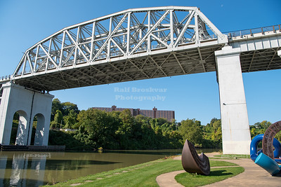 Tiny moon over Cuyahoga Viaduct in Cleveland, Ohio