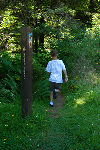 © Joseph Dougherty. All rights reserved.  Beckett running down the Coastal Trail in Southern Oregon. August 2011.