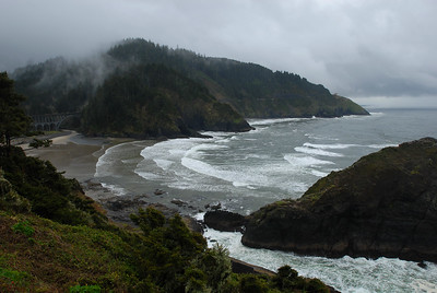 © Joseph Dougherty. All rights reserved.  Southern Oregon coast in the mist, from Heceta Head.