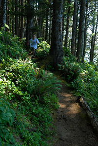 © Joseph Dougherty. All rights reserved.  Beckett running down the Coastal Trail in Southern Oregon.