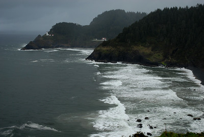 © Joseph Dougherty. All rights reserved.  Heceta Head Lighthouse and Keeper's Residence from a distance.  Southern Oregon coast.
