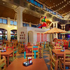 Food Court  at the Coronado Springs Resort hotel. virtually never this deserted or clean. Lots of children.