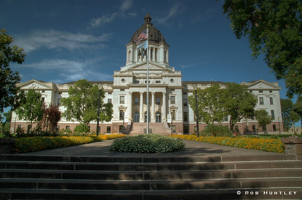 State Capitol building in Pierre, South Dakota. HDR. Note ghosting of flags due to three separate exposures being combined into one. © Rob Huntley